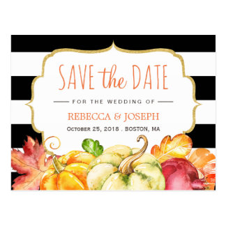Fall Save the Date - Autumn Pumpkin Maple Leaves Postcard
