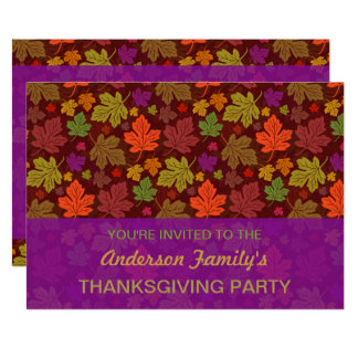 Fall Thanksgiving Party Elegant Autumn Leaves Card