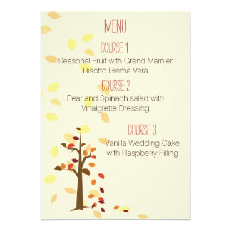 fall tree autumn brown leaves  wedding menu card