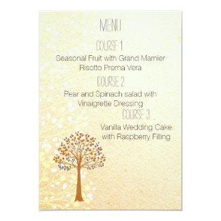 fall tree Rustic Wedding menu Card
