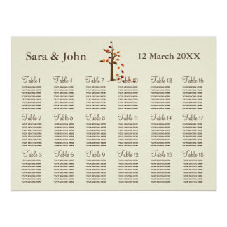 Fall tree Rustic wedding Seating Chart Poster