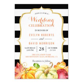 Fall Wedding Celebration | Autumn Pumpkins Leaves 13 Cm X 18 Cm Invitation Card