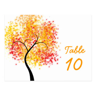 Fall Wedding Swirly Tree Table Number Postcard