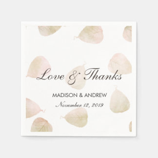 Fall Wedding | Watercolor Leaves Love & Thanks Paper Napkins