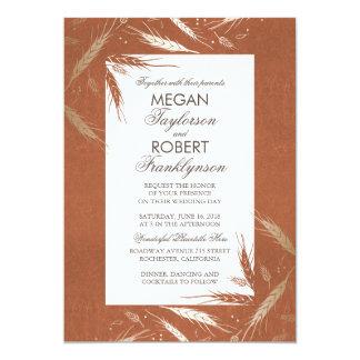 Fall Wheat Gold and Orange Rustic Wedding 13 Cm X 18 Cm Invitation Card
