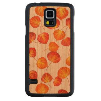 Fallen Autumn Aspen Leaf Pattern Carved Cherry Galaxy S5 Case