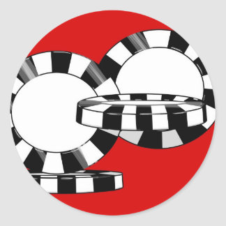 Falling Poker chips in black and white with red Classic Round Sticker