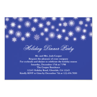 Falling Snowflakes Holiday Dinner Party Invitation