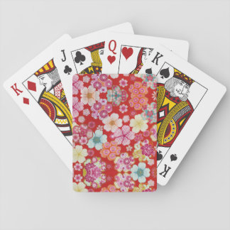 Falln Crimson Floral Chirimen Playing Cards