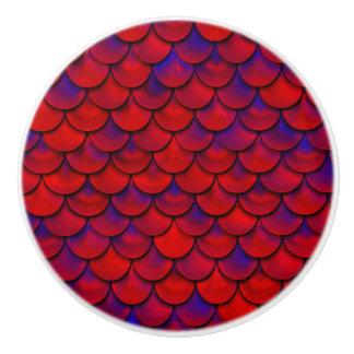 Falln Red and Purple Scales Ceramic Knob
