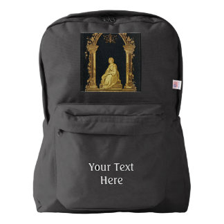 Falln Woman in Gold Book Cover Backpack