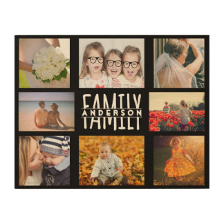 Family 8 Photo Collage Template Add Custom Name V2 Wood Canvases