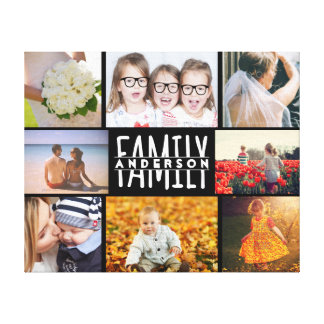 Family 8 Photo Collage Template Plus Add Name V2 Canvas Print