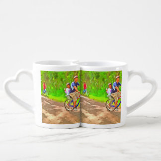 Family cycling on a dirt track lovers mugs