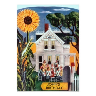 Family Friends Gather Rural Sunflower Invitations