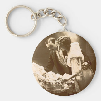 Family in the Past Basic Round Button Key Ring