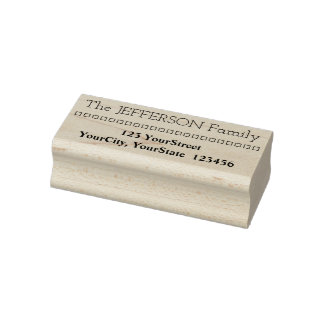 Family Last Name & Address & Squares Rubber Stamp