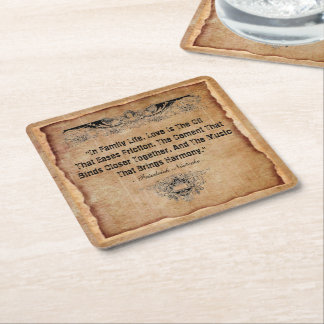 Family Life Square Paper Coaster