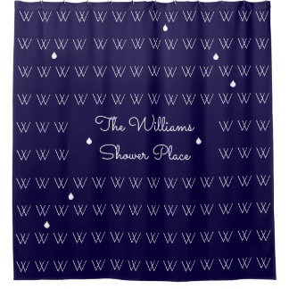 family name personalized bath place blue shower curtain