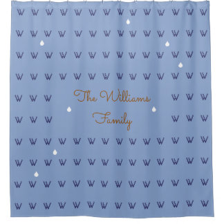 family name personalized blue (custom) shower curtain