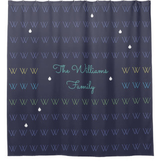 family name personalized shower curtain blue