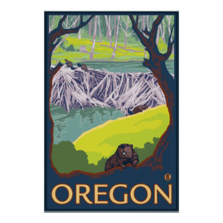 Family of Beavers making a Dam - Oregon Poster