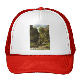 Family of Deer in a Landscape by Gustave Courbet Hat
