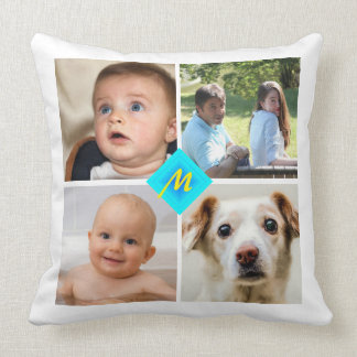 Family Photo Collage Any Color Stripes Cushion