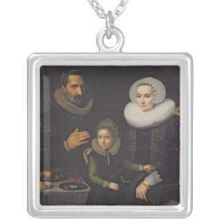 Family Portrait Silver Plated Necklace