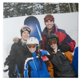 Family portrait with snowboards tile