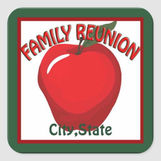 Family Reunion Apple Name Tag Sticker Square Stickers
