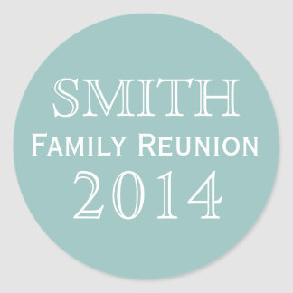 Family Reunion Blue Background Classic Round Sticker