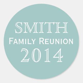 Family Reunion Blue Background Round Sticker