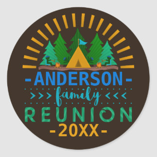Family Reunion Camping Trip Woods | Custom Name Round Sticker