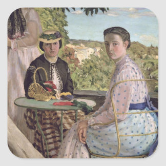 Family Reunion, detail of two women, 1867 Square Sticker