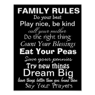 FAMILY RULES #2, Inspiration for a happy family! Poster