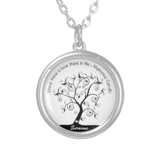 Family Tree with Gandhi Quote Silver Plated Necklace
