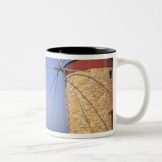 Famous old windmills of Rhodes Greece Two-Tone Coffee Mug
