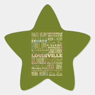 Famous Places of Louisville, Kentucky. Star Sticker