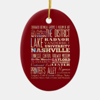 Famous Places of Nashville, Tennessee. Ceramic Oval Decoration