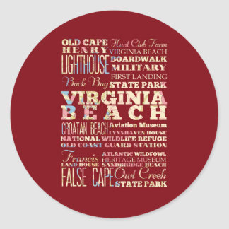 Famous Places of Virginia Beach, Virginia. Stickers