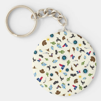 Famous Texas items- the lone star state Basic Round Button Key Ring