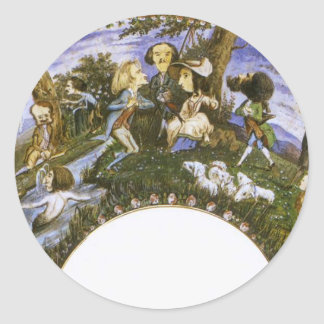 Fan with Caricatures by Eugene Delacroix Classic Round Sticker