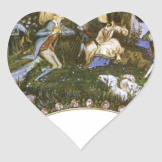 Fan with Caricatures by Eugene Delacroix Heart Sticker