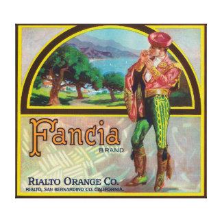 Fancia Brand Citrus Crate Label Canvas Print