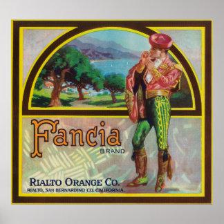 Fancia Brand Citrus Crate Label Poster