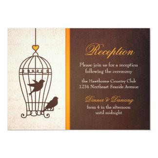 "Fanciful Bird Cage - Autumn Orange Reception 5"" X 7"" Invitation Card"