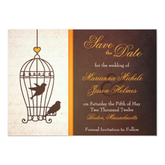 "Fanciful Bird Cage Autumn Orange Save the Date 5"" X 7"" Invitation Card"
