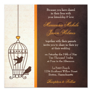Fanciful Bird Cage - Autumn Orange Wedding 13 Cm X 13 Cm Square Invitation Card