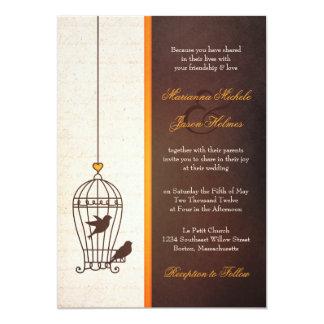 Fanciful Bird Cage - Autumn Orange Wedding 13 Cm X 18 Cm Invitation Card
